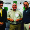 State 4-H Council member Sage Eichenburch (left) with Lewis County 4-H volunteer Rex Nelson and Missouri 4-H Foundation Trustees Kyle Kerns (right).  Photo by Sarah Townley.