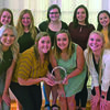 Members of the executive board for the Mu Gamma chapter of Chi Omega at Culver-Stockton College show off a Chapter of Excellence Award it recently received. Front row from left are Lexi Janney of Canton, Dannicka Wiseman of Monticello, Kailee Gaither of Canton and Alexa Klocke of Maywood; back row from left, Camryn Frese from Quincy, Ill., Erin Karg of Rockton, Ill., Maryanna Catrine of Springboro, Ohio, Annie Hoffman of Canton and Chloe Sivesind of Surprise, Ariz.