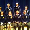 Seated from left to right are Vice President Kate Thompson, Columbia; Vice President Kenzie Darst, Aurora; Vice President Alexis Wilkinson, Sikeston; Past President Paxton Dahmer, Nevada; Vice President Tyler Schuster, Boonville; and President Brenden Kleiboeker, Pierce City.    Back Row L- Tyler Biggerstaff, Owen Holloway, Kyle Frazier, and Matthew Barry, Canton FFA members.