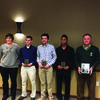 Coach Jake De Coster was named Assistant Coach of the Year at the Missouri State Soccer Coaches Association All State Banquet on Jan. 9. Only one coach is chosen from all the classes. Several members of the Canton Tigers soccer team also received honors in Class 1.  Pictured are  (l-r)  Sarah Mueller, head coach, Beau Turgeon: All-state second Team - Class 1; Collin Lubbert - All-state First Team; Lavion Wilson - All-state First Team ; Jake De Coster - Assistant Coach of Year - All classes Not pictured: Logan Brown - First Team All-state  and Trey Metz - Honorable Mention All-state.
