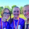 From Left toRight: Highland Cross Country team members who finished in the top twenty were Carlie Davis (19th), Kaycie Stahl (9th) and Alexis Vaughn (12th) at Elsberry.