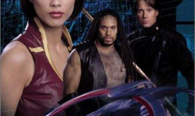 """Promo for Gene Roddenberry's Andromeda featuring Ship's Avatar """"Rommie"""", Tyr Anasazi and Captain Dylan Hunt."""