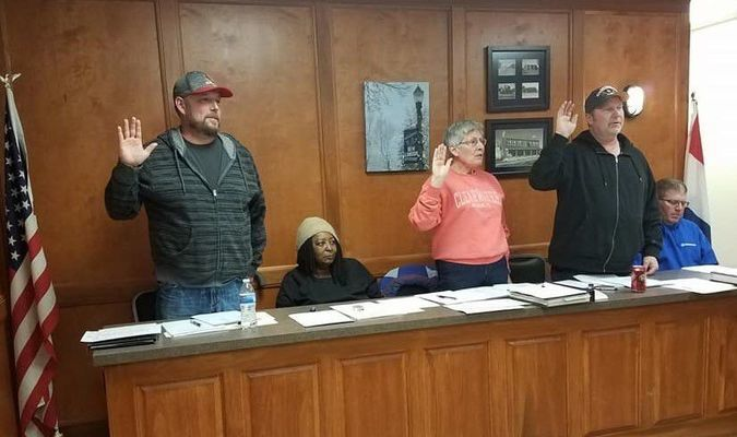 Elected officials for the City of New London were sworn in at the New London Council on Monday, April 9. From left are Ward 1 Alderman Shawn McCourt, Mayor Mary Jane White, and Ward II Alderman Allen Ballard.