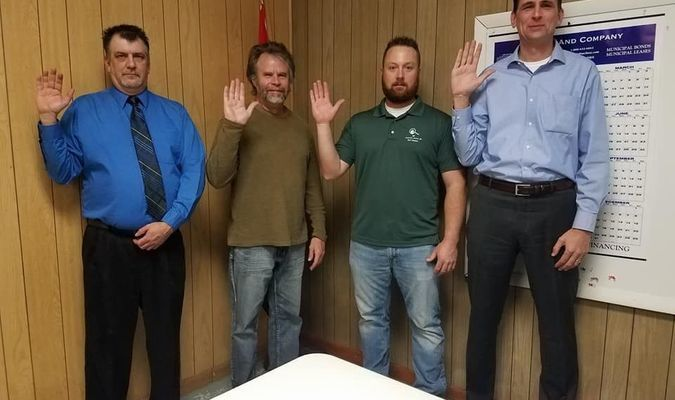 Officials for the City of Perry were sworn in at the Perry Council meting on Wednesday, April 11. From left are Ward II Alderman Jim McIntire, Ward II Alderman John Jackson, Ward I Alderman Matt Hawkins, and Mayor Chad Williams. Jackson was appointed to fill the one-year term of Williams.