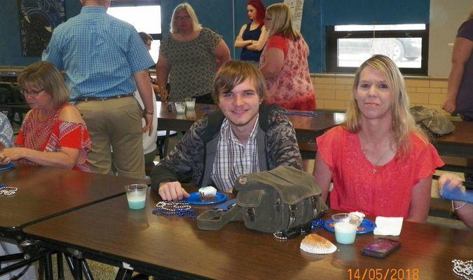 Senior Dillan Perrigo and his mom Stacey at the MTHS Senior Tea.