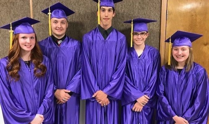 Seniors graduating from Perry Christian Academy are Tori Yancey, Tim Duncan, Elishah Prior, Kohl Mitchell, and Emily Woodhurst.