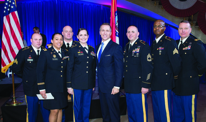 Gov. Eric Greitens reviews some members of the Missouri National Guard who took part in the Inauguration Day events. Chief Warrant Officer Timothy Forney, of Rensselaer, is on the far right.