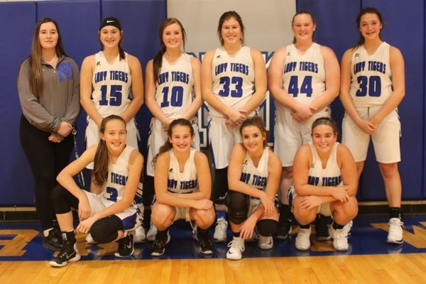 Members of the Mark Twain Lady Tigers basketball team are pictured back row from left Cilicia Fullenwider, Autumn Arndt, Mackenzie Ogle, Paige Eddington, Sydnee Brothers, and Anna Echternacht. Front row from left are Emma Ross, Zoe Miller, Elizabeth Trower, and Alyssa Ford. The girls are coached by Alex Brandeburg assisted by Ron Curtis.