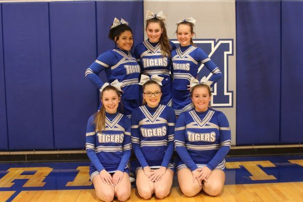 Mark Twain High School Cheerleaders are back row from left Sadie Trevino, Aimee Ferry, and Abbie Schlueter. Front row from left are Breanna Black, Lauren Williams, and Bria Hooley. The girls are coached by Sandi Berry.