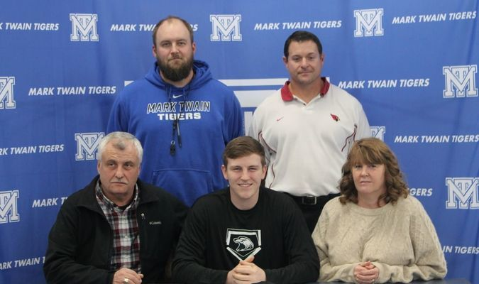 Casey Williams signed a letter of intent to play baseball at Central Methodist University after graduation on Thursday, December 7. With Casey are his parents, Mark Twain Athletic Director Cody McCann, and Mark Twain Tigers Baseball Coach Karl Asbury.