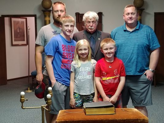 John Hawkins is pictured with his family. With him are his sons, Matt Hawkins and Rick Hawkins. In the front are his grandchildren, Payton, Bella, and Nick Hawkins.