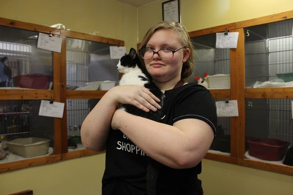 NEMOHS unofficial volunteer Haven Bloodgood holds a kitten at center for cats.