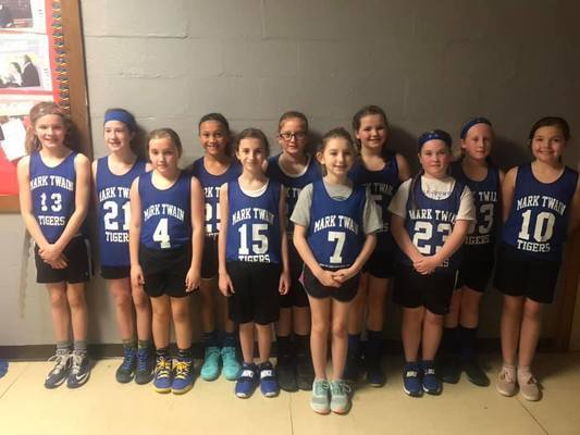 Mark Twain 4th grade girls are pictured back row from left Jenna Ross, Ava McKinney, Ameris Melvin, Hope Blackwell, Alyvia Paxton, and Ella Moss. Front row Kaylee Armor, Cecelia Quinlin, Britleigh Coleman, Maeley Moss, and Sonja Powell.