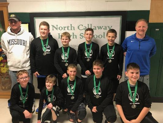 Mark Twain 6th grade boys team took 2nd place at the North Callaway Tournament. Back row from left are Mark Northcutt, Brayden Moss, Nolan Epperson, Sam Northcutt, Coden Miller, and Mark Epperson. Front row are Quin Palmer, Cameron Brothers, Jack Dotson, Jacob Dotson, and Tristan Johnson. Not pictured is Eli Snodgrass.