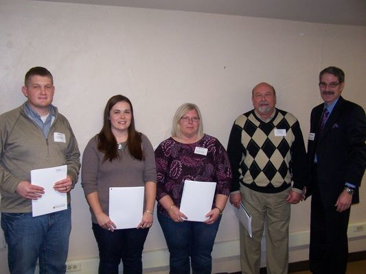 New Ralls County Extension Council Members for 2019  L – R - Austin Bailey, Farm Bureau; Sarah Evans, Jasper Township; Beverly Klise, Spencer Township; Tom Ruhl, Clay Township and Jim Meyer, County Engagement Specialist.