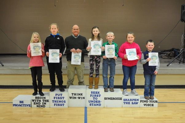 L to R - RCE January Habit Heroes:  Colleen Lehenbauer, Ella Moss, Wiley Hibbard, Catherine Wright, Rylan Thompson, MaKinley Turnbull and Adrian Madore.