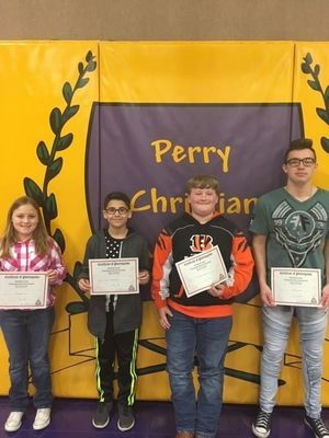 Four Perry Christian Academy students qualified for state competition at Branson for the Missouri NASP (National Archery in the Schools Program) Tournament held on March 22-23.  Pictured from left are: Autumn Cook, 5th grade; Tyren Maxwell-Riley, 5th grade; Anthony Duncan, 6th grade; and Gregg Duncan, 12th grade.
