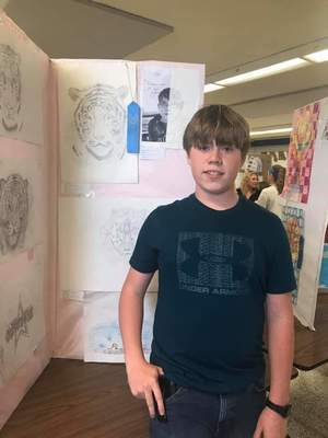 "Hunter Golian, 8th Grade, Junior High Best of Show for ""Tiger."""