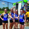 Members of the  Mark Twain High School girls 4x800 relay team are Kelsey Kendall, Katie Neff, Maddy Ford, and McKenzie Lathrom.
