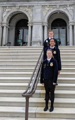 While in Washington D. C. Mark Twain FFA members spent the day touring the Nation's capital and capital hill.  Members are pictured in front of the Library of Congress. Back to front, Preston Eckler, Kiona Austin, and Alexis Baxter.