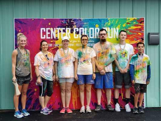 Winners of the 2019 Color Run were: L to R:  Mackenzie Ogle, Gina Jameson, Lisa Leake, Jill Palmer, Chase Palmer, Cash Caldwell, and Tyler Bien.