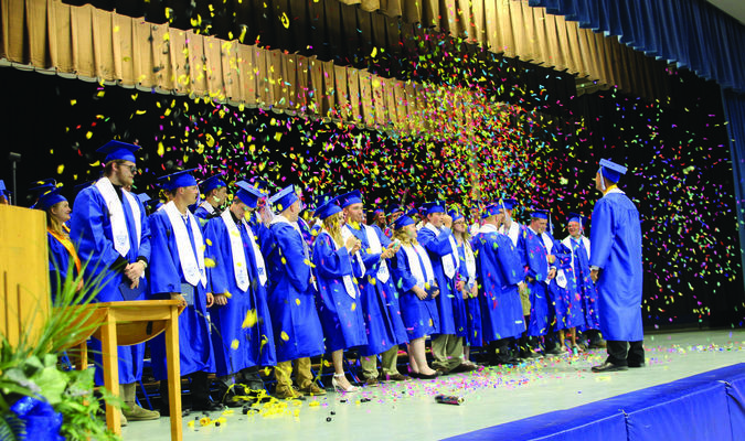 An explosion of confetti and silly string highlight the elation of graduation as the MTHS Class of 2017 celebrate their graduation on Sunday, May 21.