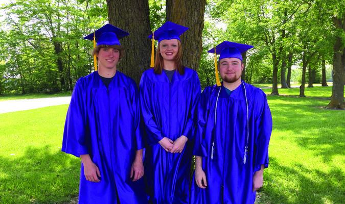 Perry Christian Academy high school graduates are Jonathan Mickels, Elizabeth Yancey, and Zachary Woodhurst.