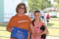 Kylie Miller with Laurie Means, Ralls County Herald Enterprise, sponsor of her award for Grand Champion Female Rabbit.