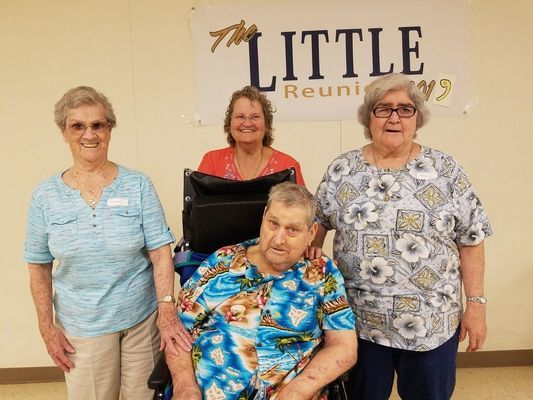 The four surviving siblings of Lambert and Leo little are in front, Pearl Little, standing from left Theresa Teague, Ann Kunce, and Sue Roberts.