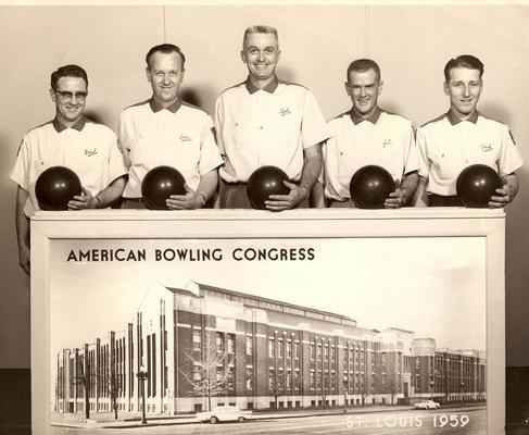 Pictured are members of the Brashears Motor Company Champion Bowling Team 1959. From left are Paul Dean Schoonover, Don Crockett, Bob Brashears, JC Fry, and Jack Long.