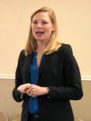 State Auditor Nicole Galloway announced her intention to run for governor at a grassroots campaign stop in New London.