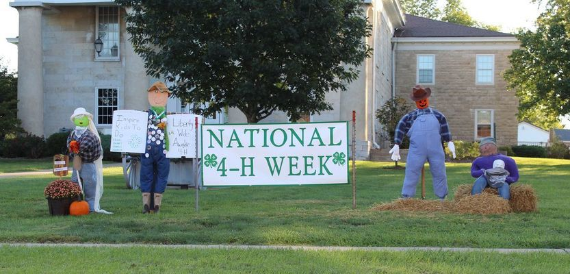 Ralls County 4-H Clubs made and set up scarecrows in the front lawn of the Ralls County Courthouse for National 4-H Week 2019.