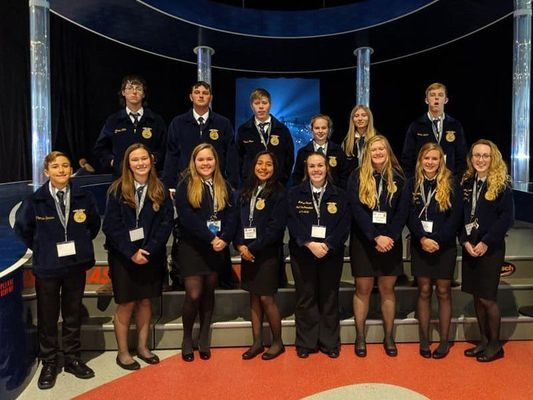 Mark Twain FFA members who attended the National Convention in Indianapolis are back row from left Aaron Miller, Tyler Mickels, Hunter Golian, Lexi Baxter, Emily Branham, and Conner Eckler. Front row from left are Thomas Barnes, Rachel Shoemyer Emma Ford, Sahira Martinez, Madison Swank, Emily Evans, Hannah Mallory, and Ashlyn Eisele.