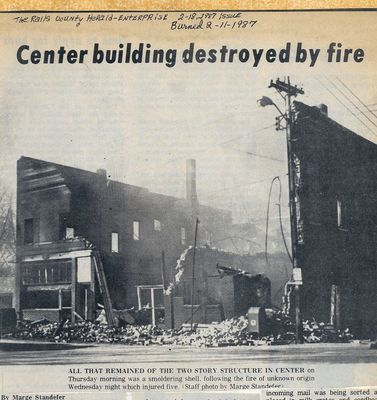 1987 Center Fire. From Walter Roland Scrapbook. The fire station is at this location now 2015.