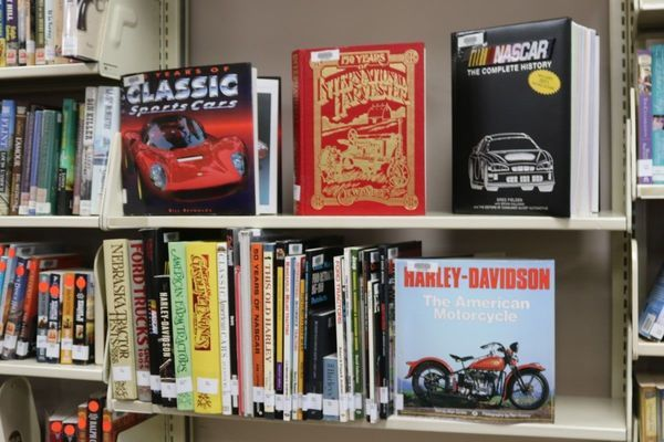 A display of the new large-print books recently donated to the Ralls County Library.