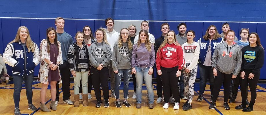 Students who were recognized for continued academic success were from left Macey Salter, Elizabeth Trower, Jace Barton, Hannah Smith, Emma Ross, Olivia Graves, Caleb Peters, Ashyln Eisele, Mackenzie Ogle, Emma Clarkson, Ryan Spoonhower, Preston Eckler, Skylar Anthony, Logan Mickels, Zoe Miller, Sydnee Brothers, Tyler Mickels, Reagan Schultz , Kiara Zumwalt, and Ragon Longden. Not pictured are Evan Torrence, Devin Whaley, Alyssa Ford, and Madison Swank.