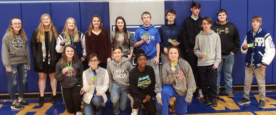 Perfect Attendance Students who received a gift card for first semester perfect attendance are front row from left Destiny Davis, Lauren Booth, Thomas Barnes, Andria Wooten, and Emma Boleach. Back row from left are Ashlyn Eisele, Emily Evans, Macey Salter, Audrey Ross, Kaden Hawn, Devin Whaley, Jaxen Lake, Jacob Picard, Colin Trower, Kameron Asquith, and Gabe Howald. Not pictured are Brandon Black, Isaak Clarkson, Alex Joiner, Summer Miller and Dawson Talbott.