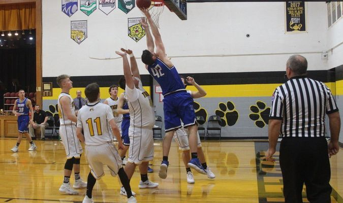 Grant Peters #42 goes up for two points at Wellsville on Friday, January 12.