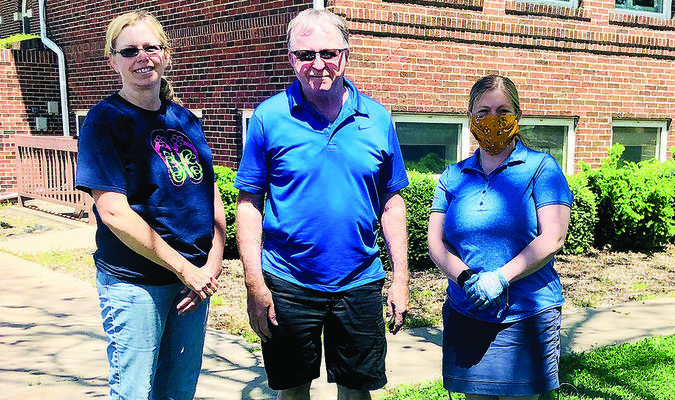 Pictured above (from left to right) is Charlene Holcomb, Shelby County Presiding Commissioner Glenn Eagan and Carrie Elsen (not pictured is Franni Smith). They were at the Shelbina Library Park Friday passing out lunches as part of the Summer Lunch Program.