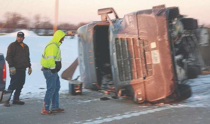 Pictured above is a 2017 Freightliner Cascadia that ran off the right side of the road and overturned one mile west of Clarence. The driver, Manuel V. Estrada of Raymore, suffered minor injuries.                        Photo by Thad Requet, Shelbina Weekly