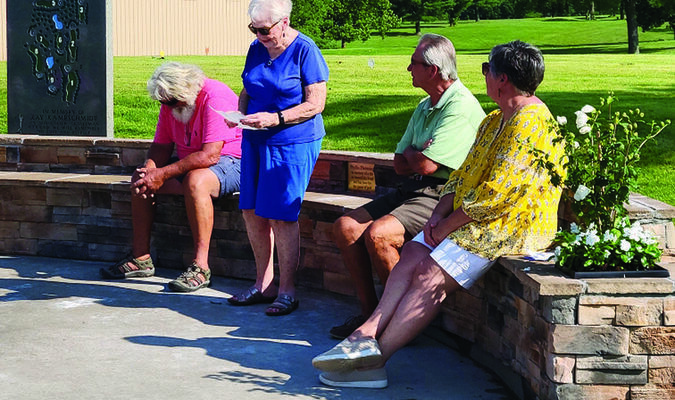 Pictured above (from left to right) are Johnnie Presson, Delores Steege, Gene Presson and Penny Wood at the dedication service for the new bench in honor of Phyllis Flemming at the Shelbina Lakeside Golf Course.