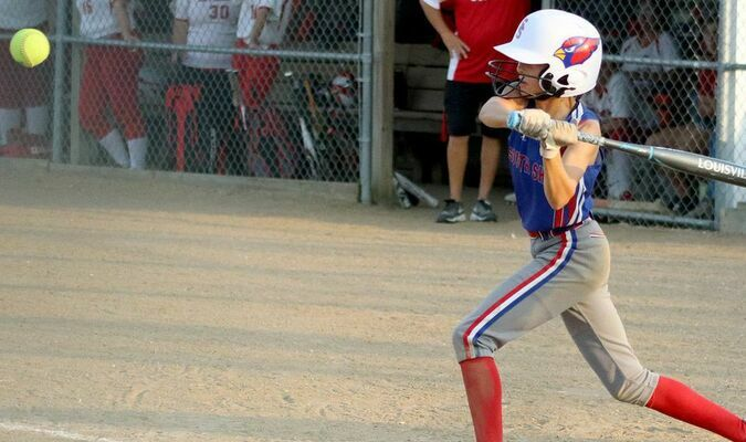 Sofia Eleazarraraz takes a swing in the LaPlata game on Monday, September 13.           Photo by Mark Requet, Shelbina Weekly