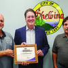 Shelbina City Superintendent Dennis Klusmeyer (left) and Mayor Al Dimmitt (right) received a certificate of Excellence from John Twitty, (center) President and CEO of MPUA for Reliability from the American Public Power Association.