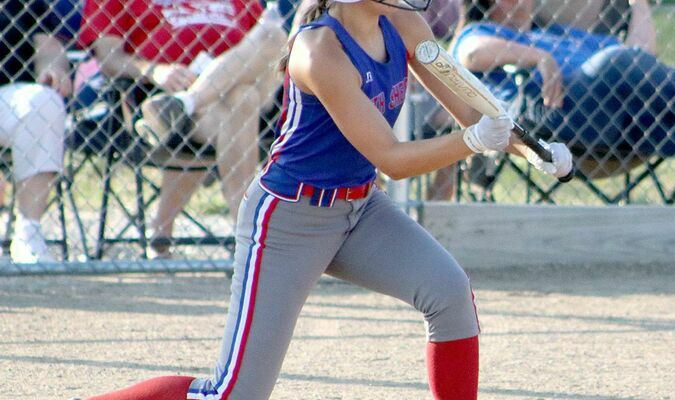Hannah Wegman squares to bunt against Macon on Monday.Photo by Mark Requet, Shelbina Weekly