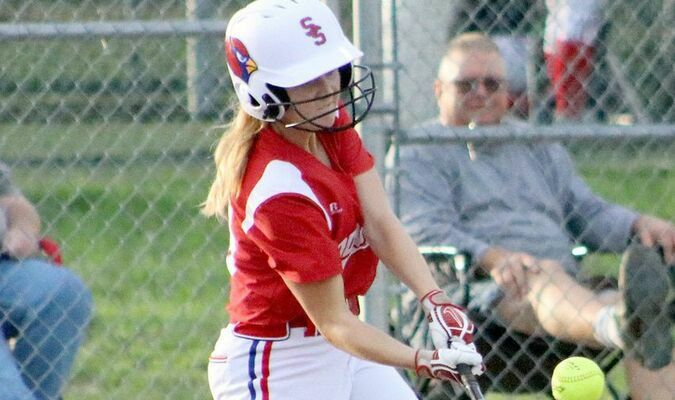 Miranda Patterson gets a hit against Clark County on Thursday, October 7.           Photo by Mark Requet, Shelbina Weekly