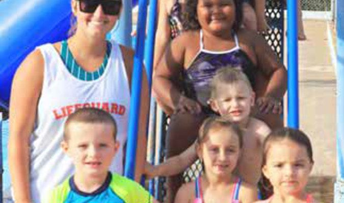 Taking swimming lessons at Carnegie Swimming Pool from Assistant Pool Manager (top) and lifeguard Karley Kinder (left) were (from top down) Myles Peters, Marlee Thomas, Aleece Wilson, Kyndall Heddlesten, Eli Dennis, Decklyn Brewster, Dukson Robertson, Cooper Mitchell and Harper Mitchell.