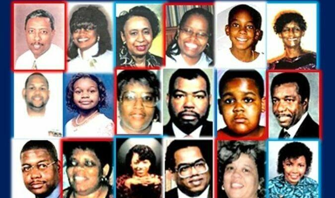 FIRST ROW: Yeneneh Betru, 35, Carrie R. Blagburn, 48, Angelene C. Carter, 51, Sharon A. Carver, 38, Bernard C. Brown II, 11 and Sara M. Clark, 65. SECOND ROW: Julian Theodore Cooper 39, Asia Cottom, 11, Ada M. Davis, 57, James D. Debeuneure, 58, Rodney Dickens,11, and Eddie A. Dillard, 54, THIRD ROW: Johnnie Doctor, 32 Jr., U.S. Navy, Technician Amelia V. Fields, 46, Sandra N. Foster, 41, Cortez Ghee, 54, Brenda C. Gibson, 59, and Diane Hale-McKinzy, 39. FOURTH ROW: Carolyn B. Halmon, 49, SSG. Jimmie I. Holley,54, Peggie M. Hurt, 36, SGM. Lacey B. Ivory, 43, Brenda Kegler, 49, and Samantha L. Lightbourn-Allen, 37. FIFTH ROW: OS2 Nehamon Lyons IV, 30, Ada L. Mason-Acker, 50, MAJ. Ronald D. Milam, USA, Jr., 33, Odessa V. Morris, 54, MAJ. Clifford L. Patterson, Jr.,33, and Scott Powell, 35. SIX ROW: Marsha D. Ratchford, 34, Cecelia E. (Lawson) Richard, 41, Judy Rowlett, 44, SGM. Robert E. Russell, 51, Janice M. Scott, 46, and Antionette M. Sherman, 35. SEVENTH ROW: Edna L. Stephens, 42, Hilda E. Taylor, SGT. Tamara C. Thurman, 25, LCDR. Otis V. Tolbert, 39, SSG. Willie Q. Troy, 51, LTC. and Karen J. Wagner, 40. EIGHTH ROW: SSG. Maudlyn A. White, Sandra L. White, 44, MAJ. Dwayne Williams, 40, Kevin W. Yokum, 27 Edmond G. Young, Jr.,22, Lisa L. Young, 37, and Donald M. Young, 41.