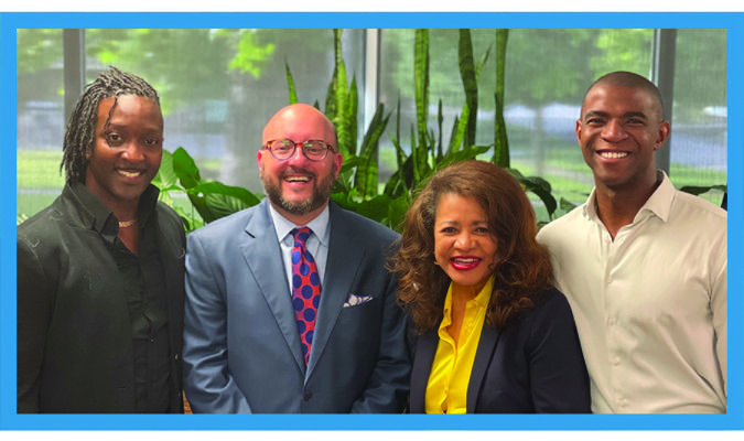 Chair, Trav Robinson, Jr., joins with First Vice Chair, Lessie Price, and Second Vice Chair, Dr. Anthony Thompson, Jr. We are excited to welcome our new Third Vice Chair, Jalen Elrod.