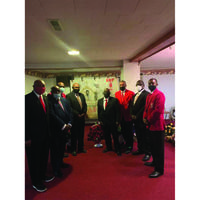 """The Members of the Kingstree Alumni Chapter of Kappa Alpha Psi, Inc. shown after Memorial Service for Brother Daniel Lewis Bryant, Sr. Our beloved late Brother Daniel Lewis Bryant, Sr. was a member of the Kingstree Alumni Chapter of Kappa Alpha Psi, Inc.The Memorial Service was held on Friday, May 21, 2021 in Lake City, SC at Green's Funeral Home. Pictured from left to right are Brother Bernard McIntosh, Brother Levern Rose, Brother Ronnie Cameron, Polemarch of the Hartsville Alumni Chapter of Kappa Alpha Psi, Inc., Brother David Woods, Polemarch of the Kinsgtree Alumni Chapter of Kappa Alpha Psi, Inc. Brother Michael Myers. Brother Danny Lewis Bryant was a loving husband, father and a member of St. James Methodist Church. In 2nd Picture visting Polemarch of the Hartsville Alumni Chapter of Kappa Alpha Psi, Inc. Brother Kevin N. Brown with memorial blanket of Our Late, Great Brother in the person of Brother Danny Lewis Bryant, Sr. """"The members of the Hartsville Alumni Chapter of Kappa Alpha Psi, Inc. and ALL KAPPAS extend heartfelt condolnces to our Brother's Family and May he find rest in Chapter Invisible when reached the Golden Shore,"""" Polemarch of the Hartsville Chapter of Kappa Alpha Psi, Inc. Brother Kevin N. Brown."""
