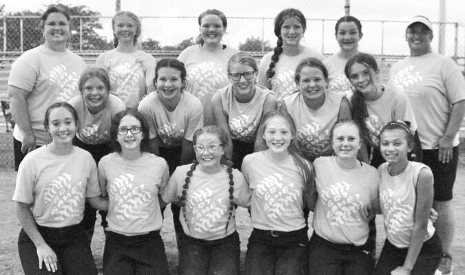 Pictured left to right, bottom row: Lacey Holcomb, Stephanie Dutro, Berkley Wells, Leah Critten, Courtney Cecil and Audrey Renne. Middle row; Katie Lynch, Channing McBroom, Adalyn Miller, Paige Heldenbrand and Olivia Rogers. Back row: Coach Holcomb, Olivia Schweizer, Makenna Bottcher, Hannah Borges, Brynn Bird and Coach Michael.